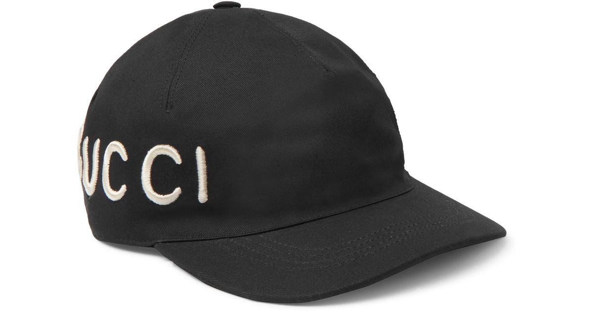 Lyst - Gucci Embroidered Cotton-twill Baseball Cap in Black for Men 0c12363ea68