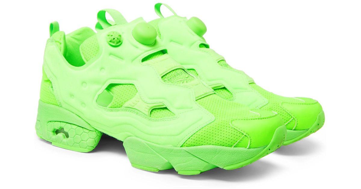 online store 99c2a f3779 Vetements + Reebok Instapump Fury Neon Slip-on Sneakers in Green for Men -  Lyst