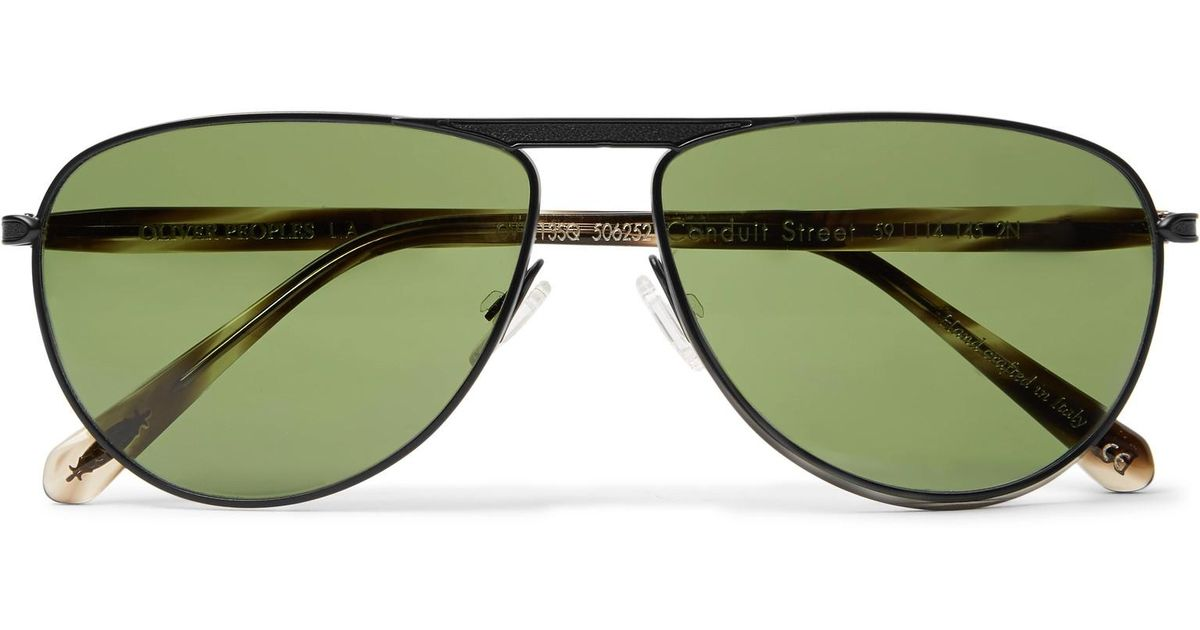 Berluti + Oliver Peoples Conduit St Aviator-style Gunmetal-tone And Acetate Polarised Sunglasses - Black aTQhKMRZ