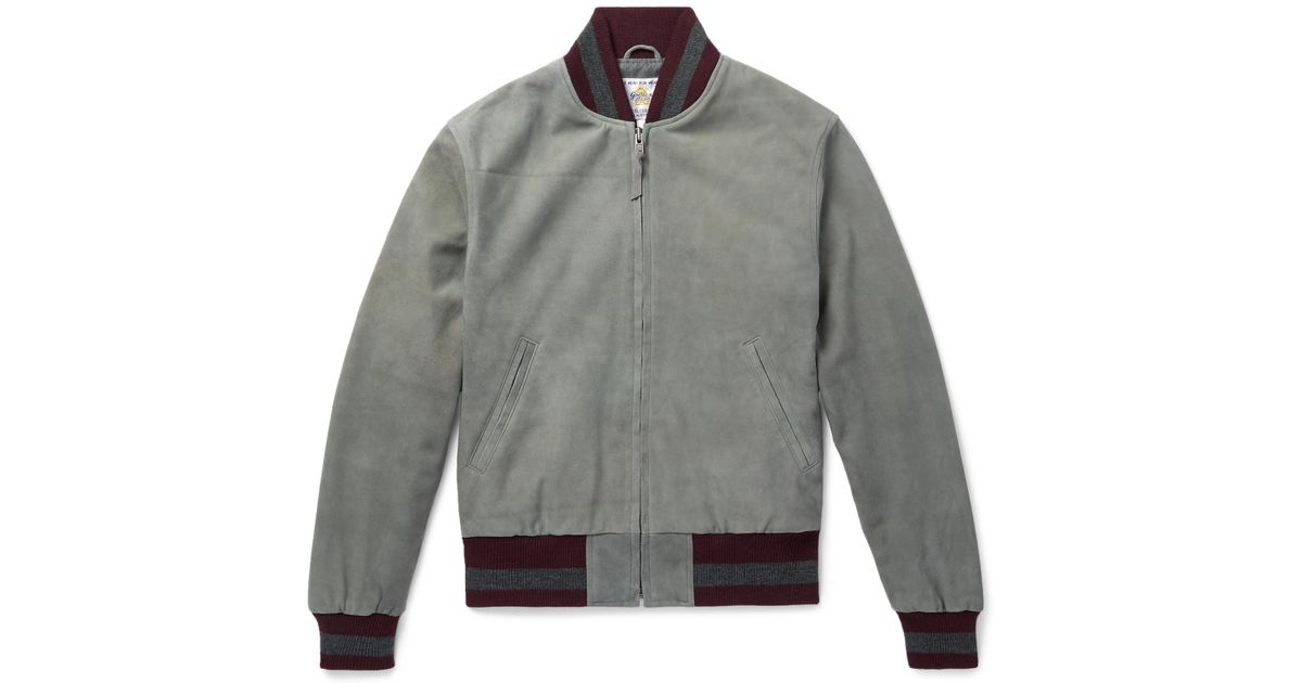 bfc1aee82836 Lyst - Golden Bear The Haus Suede Bomber Jacket in Gray for Men