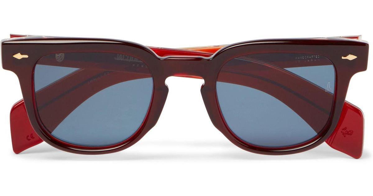 JACQUES MARIE MAGE Jax Square-frame Acetate Sunglasses - Burgundy ZgE1UyhR2