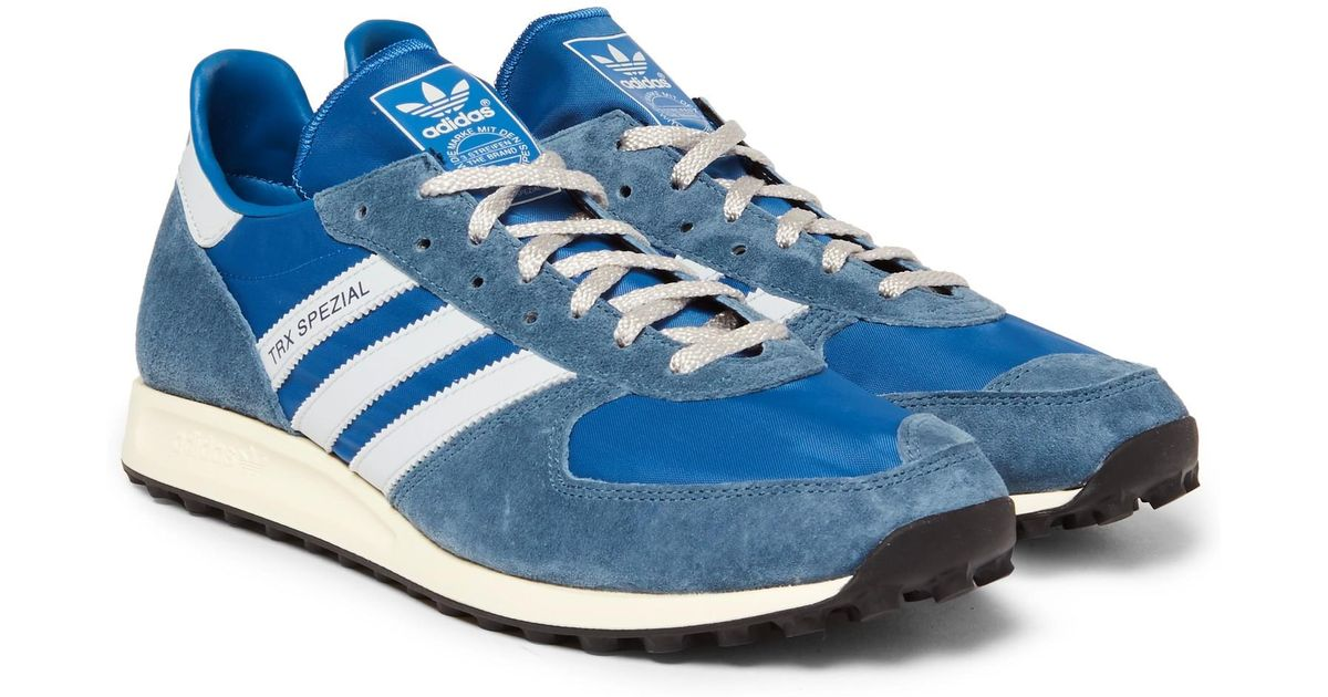 super popular 1b100 17321 adidas Originals Trx Spzl Suede-trimmed Canvas Sneakers in Blue for Men -  Lyst