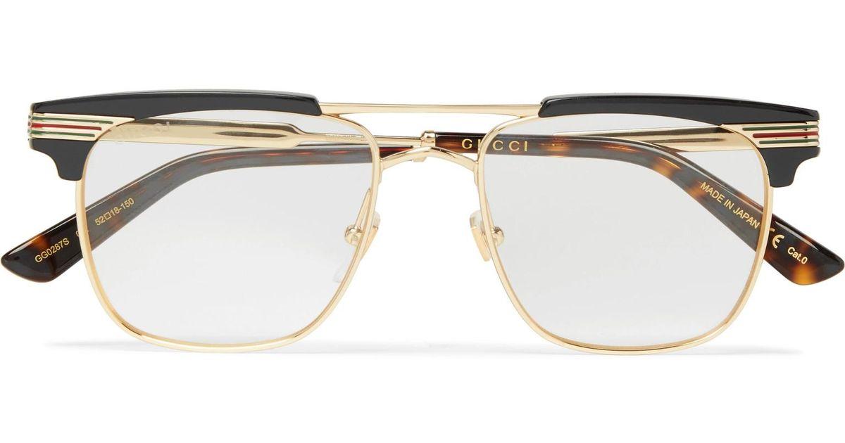 799fe162e9 Gucci Endura Square-frame Gold-tone And Acetate Optical Glasses in Metallic  for Men - Lyst