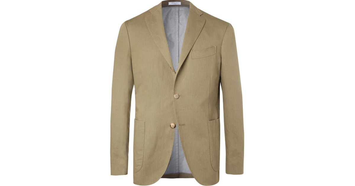 separation shoes 7c611 404e5 Lyst - Boglioli Olive Linen And Cotton-blend Twill Blazer in Green for Men