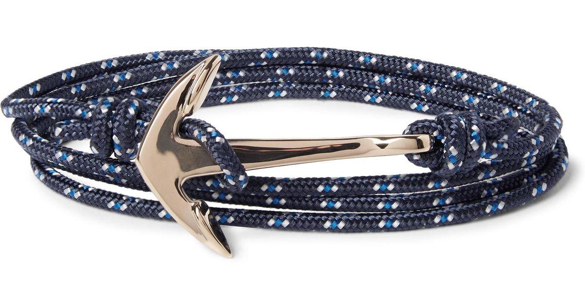 Miansai Anchor Cord And Gold-plated Wrap Bracelet - Blue QxvjZcT1