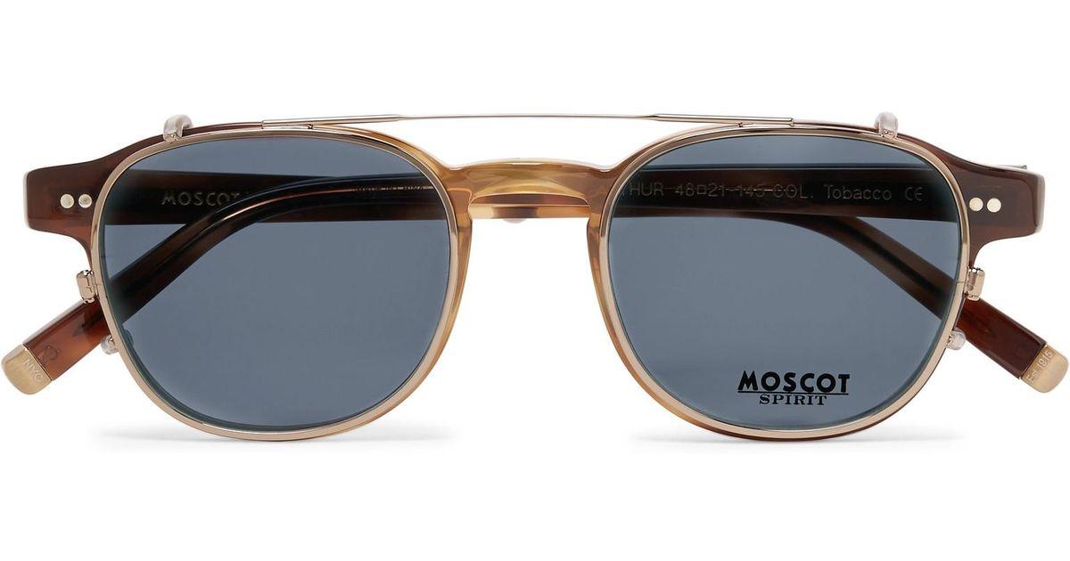 14965ed06c Moscot Arthur Round-frame Tortoiseshell Acetate Optical Glasses With Clip-on  Uv Lenses in Brown for Men - Lyst