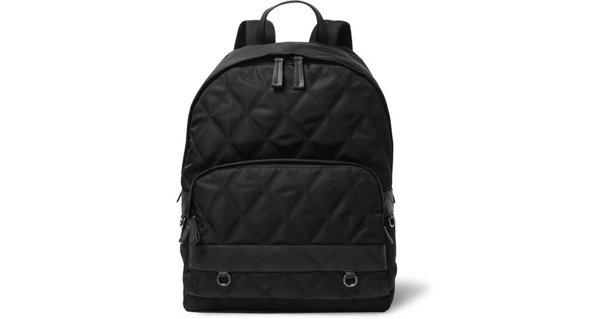 55401934e9d7 Prada Saffiano Leather-trimmed Quilted Nylon Backpack in Black for Men -  Lyst