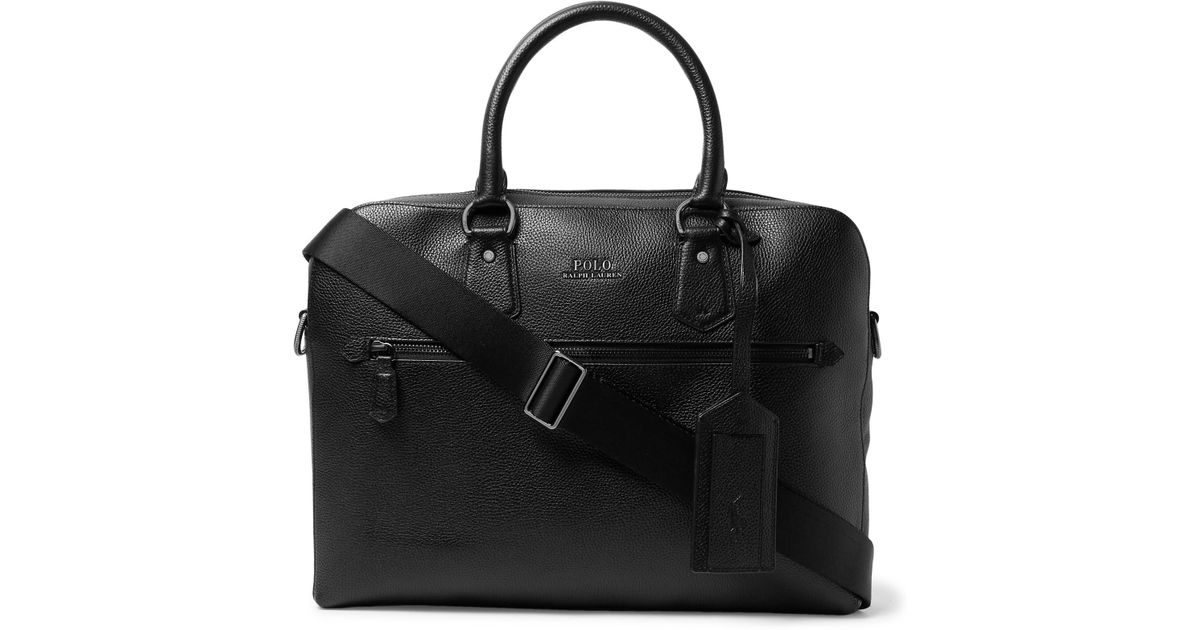 19a67c8516fd Lyst - Polo Ralph Lauren Pebble-grain Leather Briefcase in Black for Men