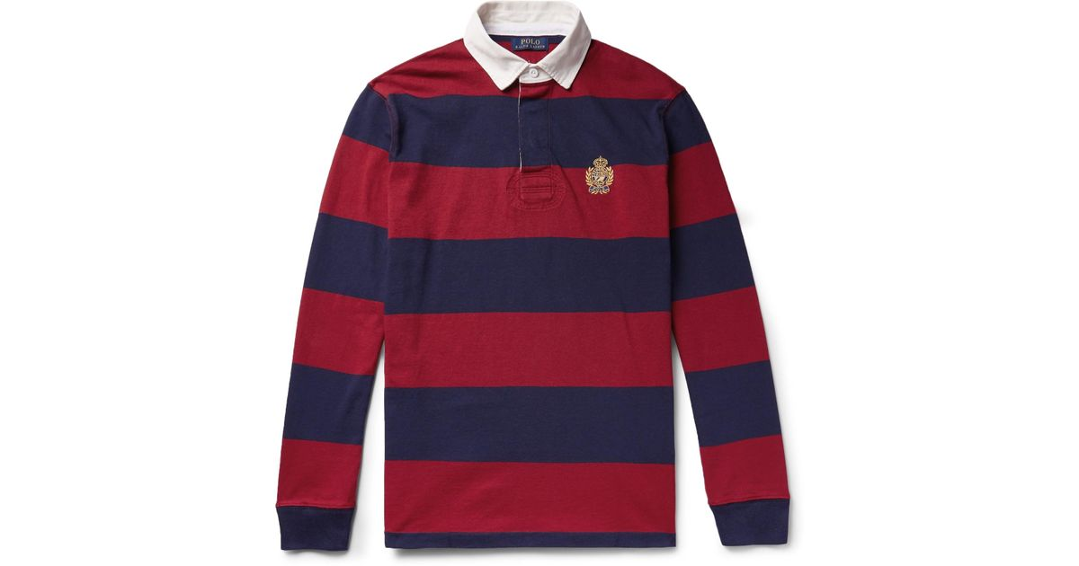 f211008a346 Lyst - Polo Ralph Lauren Logo-embroidered Twill-trimmed Striped Cotton-jersey  Rugby Shirt in Red for Men