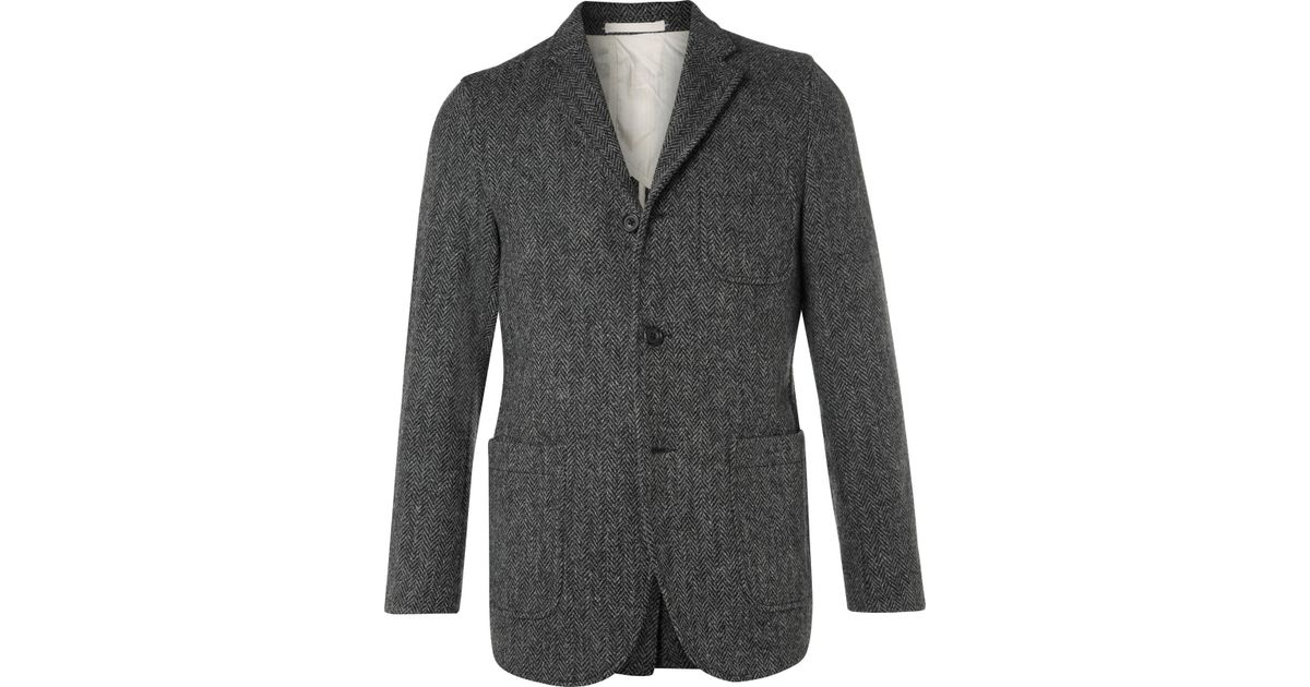 5dfa4cb815b5d Lyst - Beams Plus Grey Slim-fit Harris Tweed Wool Blazer in Gray for Men
