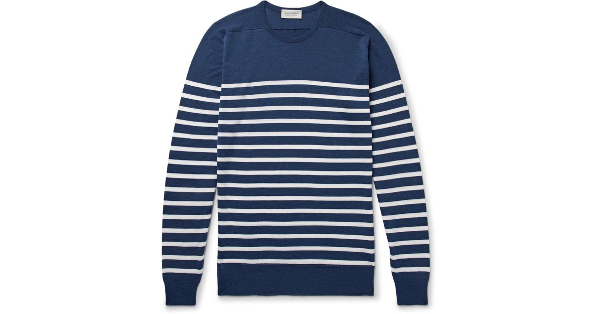Navy Wool Virgin Sweater Striped Smedley John gvTqx1Zw