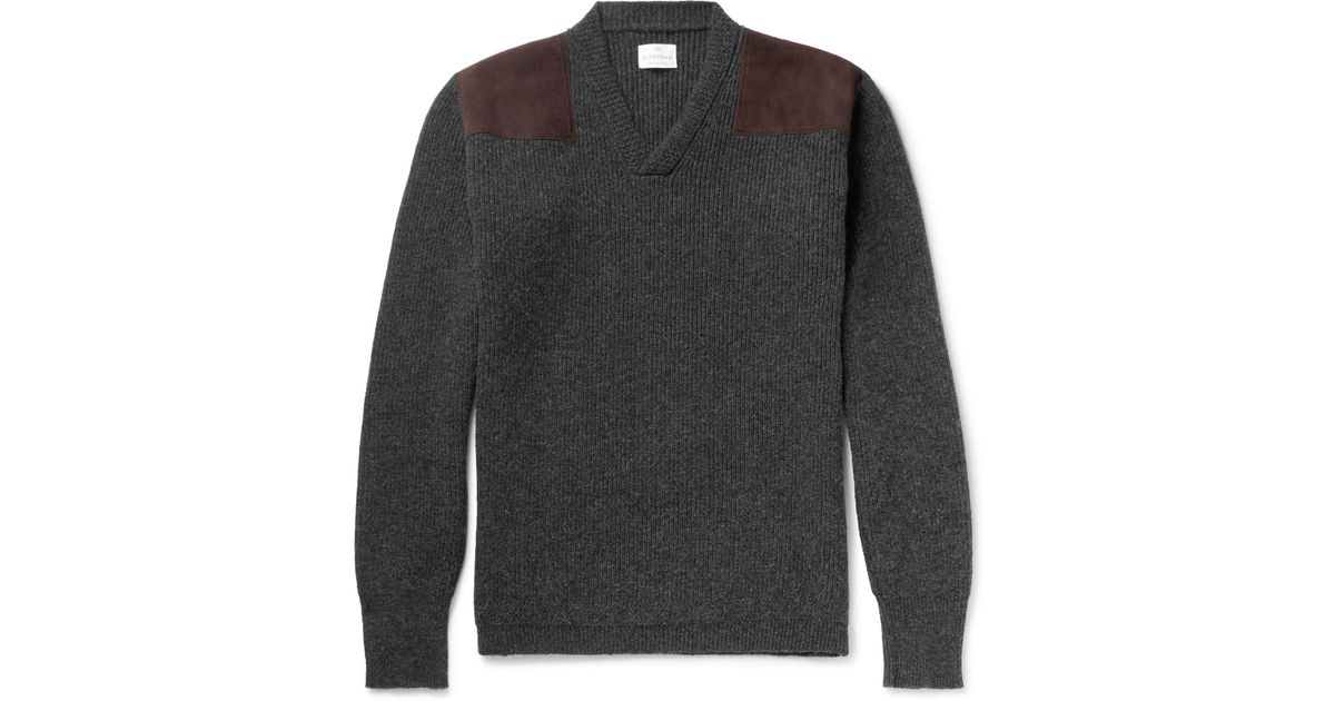 Ribbed in Sweater for Merlin's Suede Men Gray panelled Wool Kingsman qcgBtU7ff