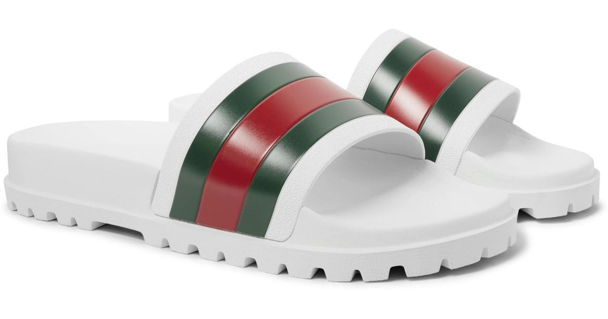 d4a976079bd72f Lyst - Gucci Web Slide Sandal in White for Men - Save 25%