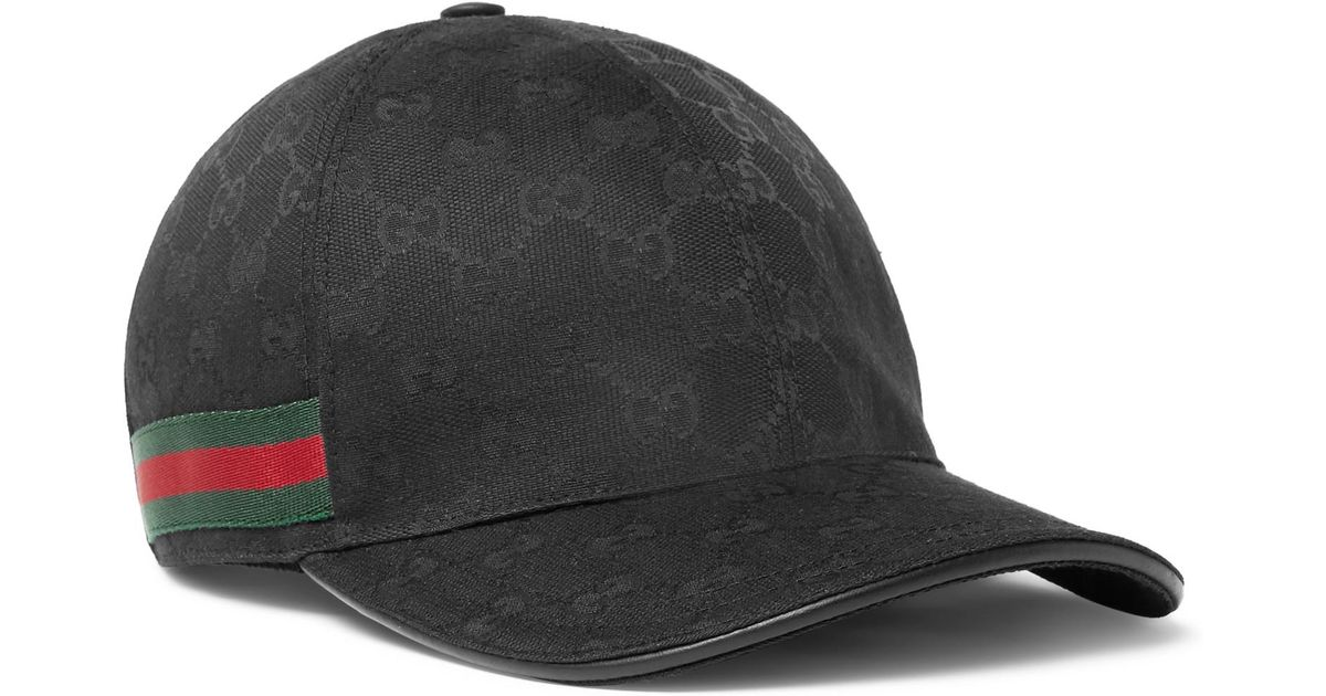 Lyst - Gucci - Monogrammed Canvas Baseball Cap - Black in Black for Men 38cc609bef5