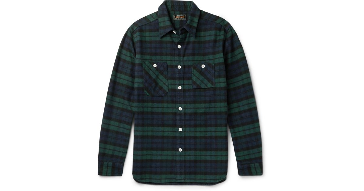 Beams plus slim fit black watch checked cotton flannel for Black watch flannel shirt
