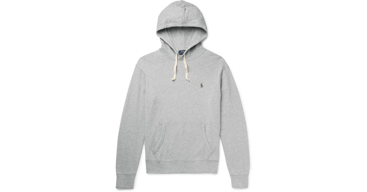 polo ralph lauren loopback cotton jersey hoodie in gray for men lyst. Black Bedroom Furniture Sets. Home Design Ideas