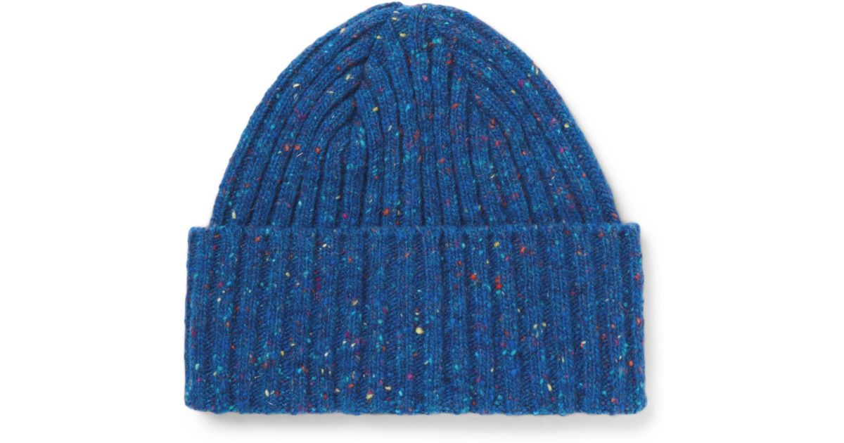 e10792aa523 Lyst - Drake s Ribbed Donegal Merino Wool Beanie in Blue for Men