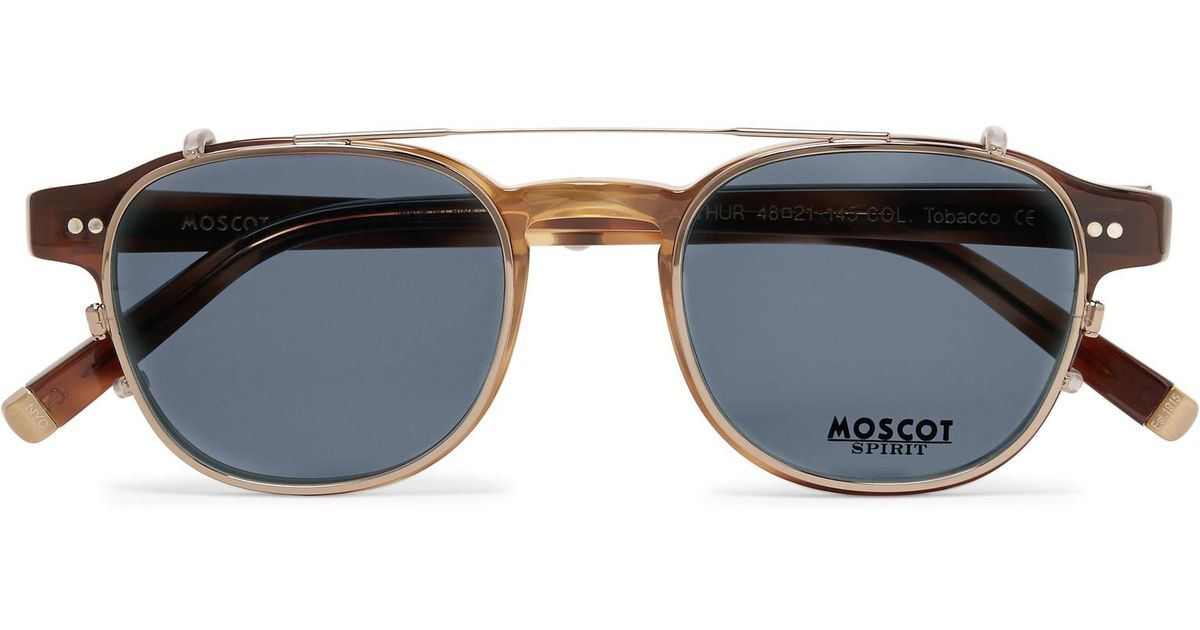 caf9c0d9680 Moscot Arthur Round-frame Tortoiseshell Acetate Optical Glasses With  Clip-on Uv Lenses in Brown for Men - Lyst