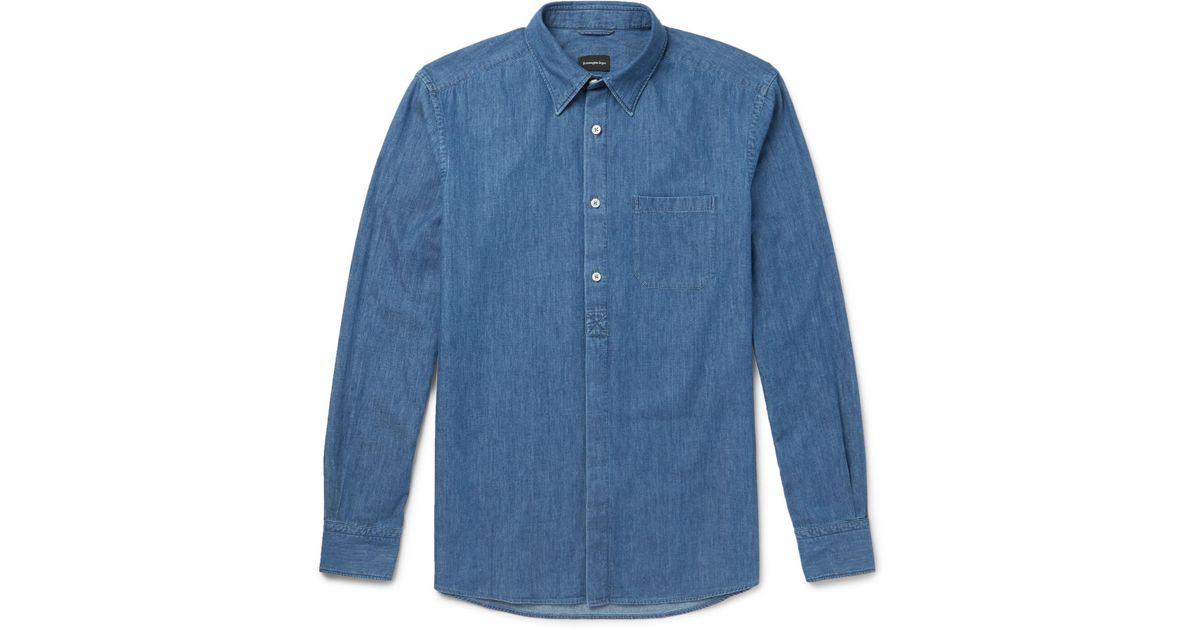 Ermenegildo Zegna Railroader Cotton-chambray Half-placket Shirt - Blue sV1aB4u