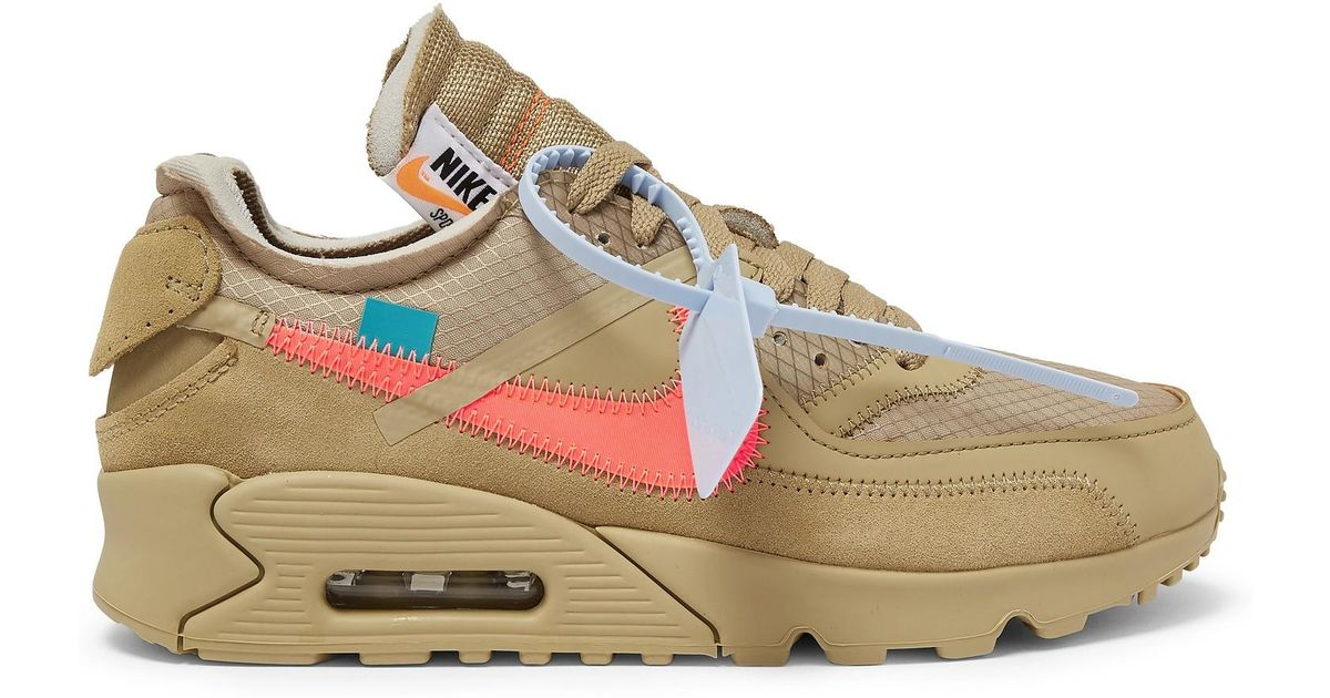 Nike Natural + Off white The Ten Air Max 90 Leather And Suede trimmed Ripstop Sneakers for men