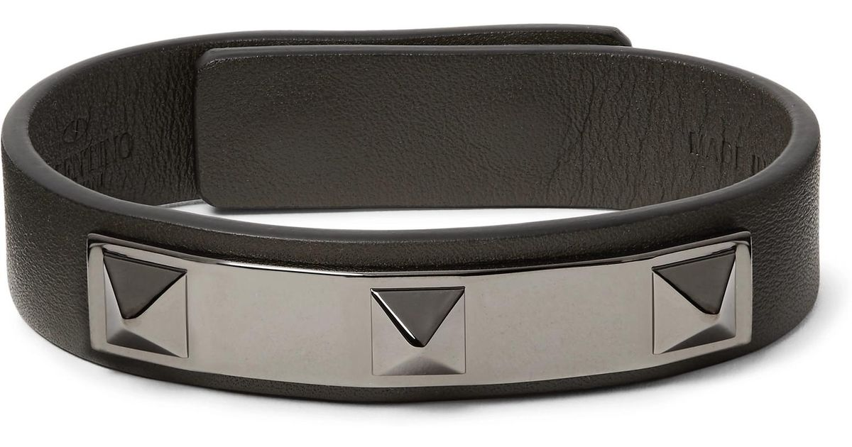 Valentino Valentino Garavani Rockstud Leather And Ruthenium-tone Bracelet - Green 5U0QnQrkg