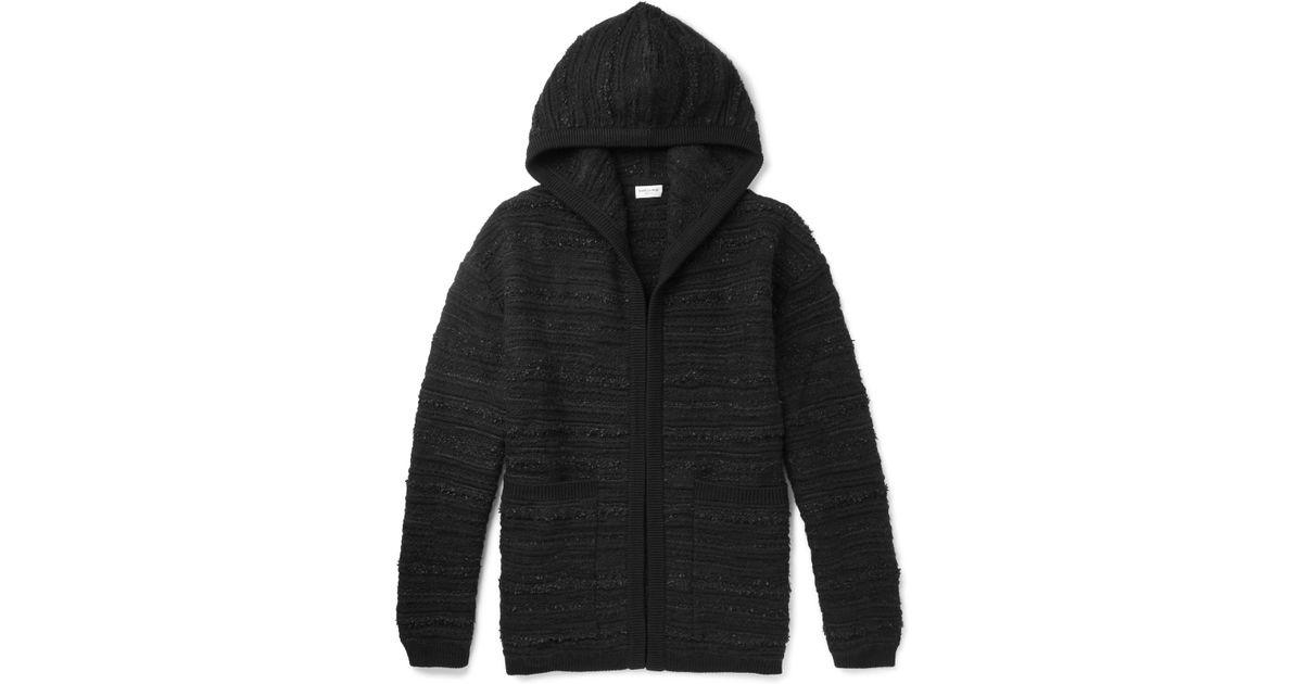 Laurent Black Hoodie Bouclé Wool blend Saint PCXqXwFp