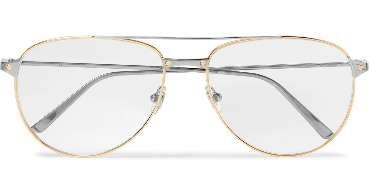08d0f5f0ef Cartier Santos De Cartier Aviator-style Gold And Silver-tone Glasses in  Metallic for Men - Lyst