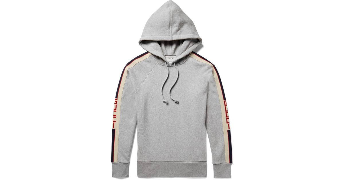 bcdd70b42 Gucci Oversized Webbing-trimmed Loopback Cotton-jersey Hoodie in Gray for  Men - Save 7% - Lyst