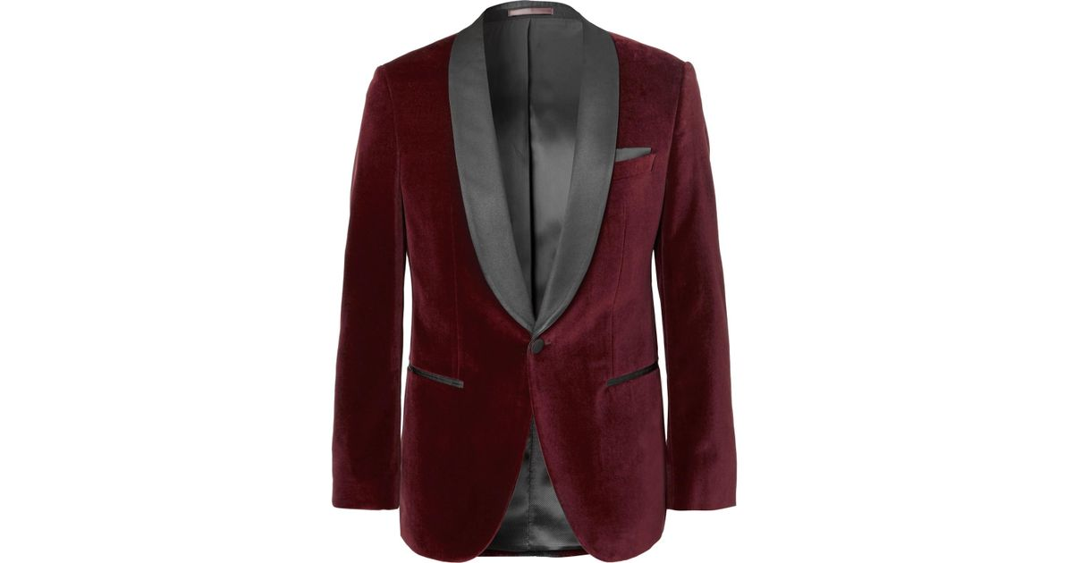 c5e266404a46 BOSS Burgundy Hockley Slim-fit Satin-trimmed Cotton-velvet Tuxedo Jacket in  Purple for Men - Lyst