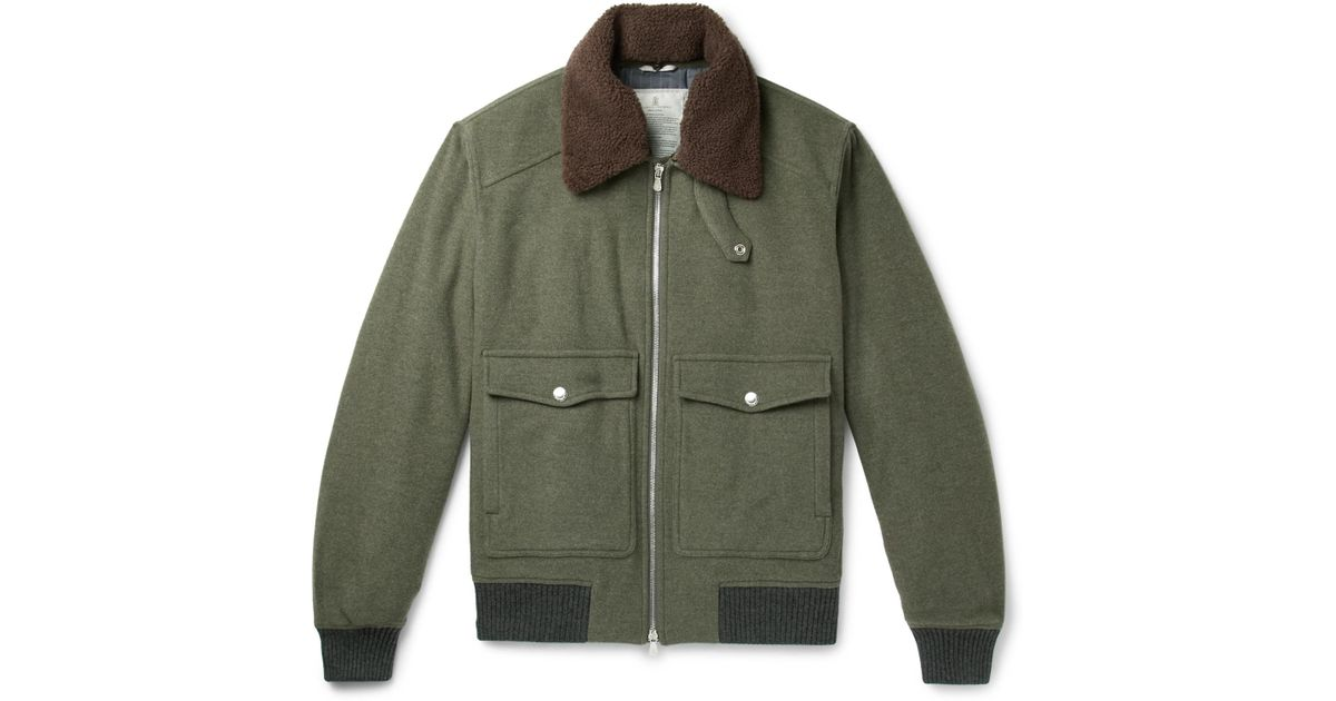 Shearling-trimmed Wool And Cashmere-blend Felt Bomber Jacket Brunello Cucinelli Low Shipping Online Cheap Get To Buy Outlet Looking For sXBTdn2jY