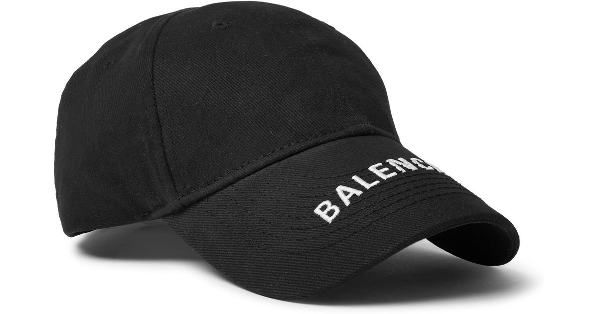 b0109562 Balenciaga Logo-embroidered Cotton-twill Baseball Cap in Black for Men -  Lyst