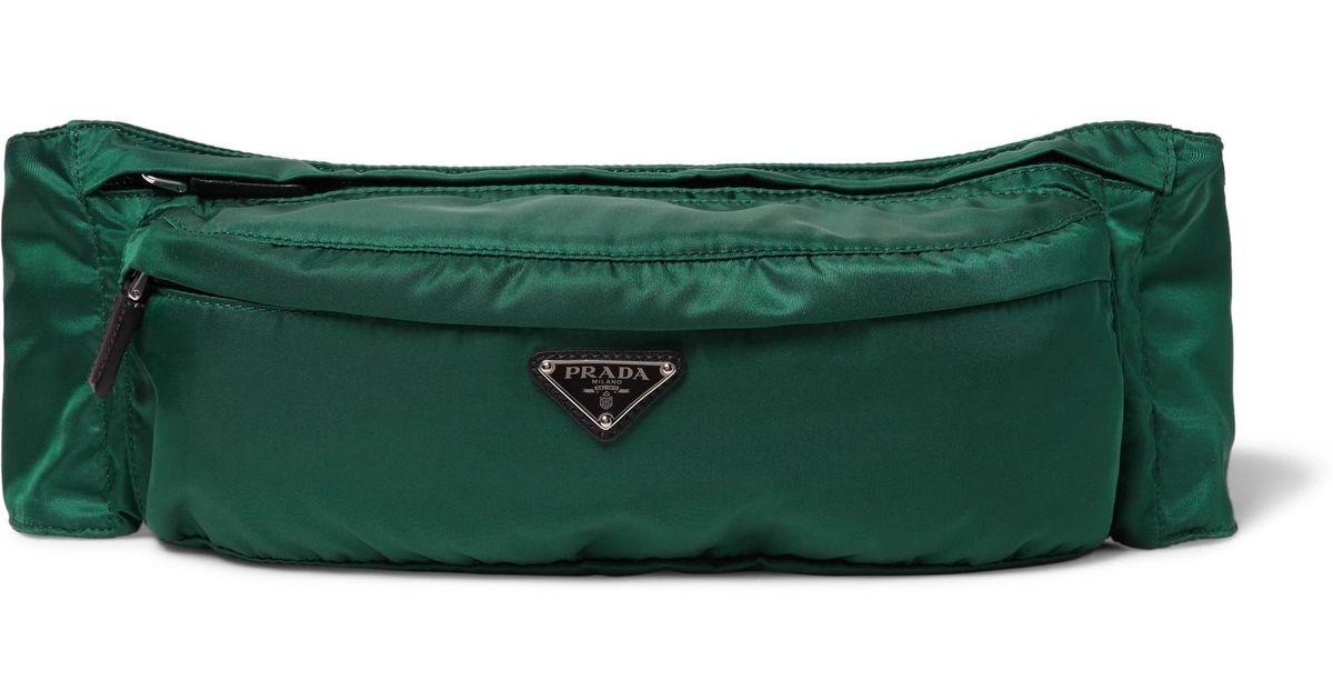 8a9bbfbf6 Prada Leather-trimmed Nylon Belt Bag in Green for Men - Lyst
