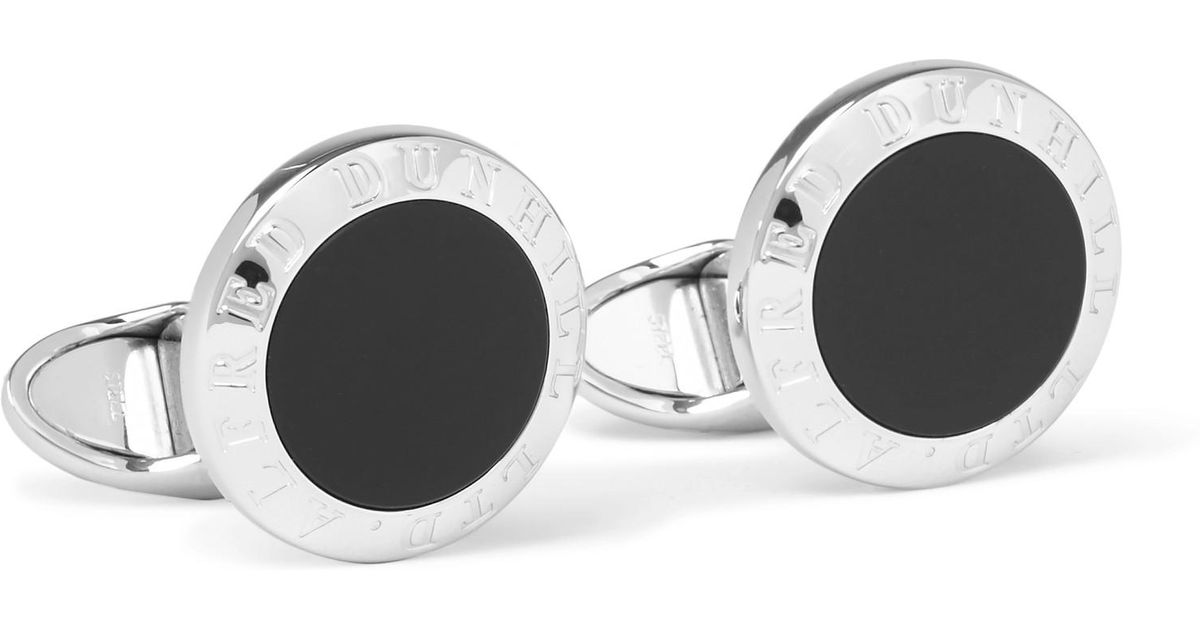 Dunhill Sterling Silver Onyx Cufflinks - Silver 3CNby