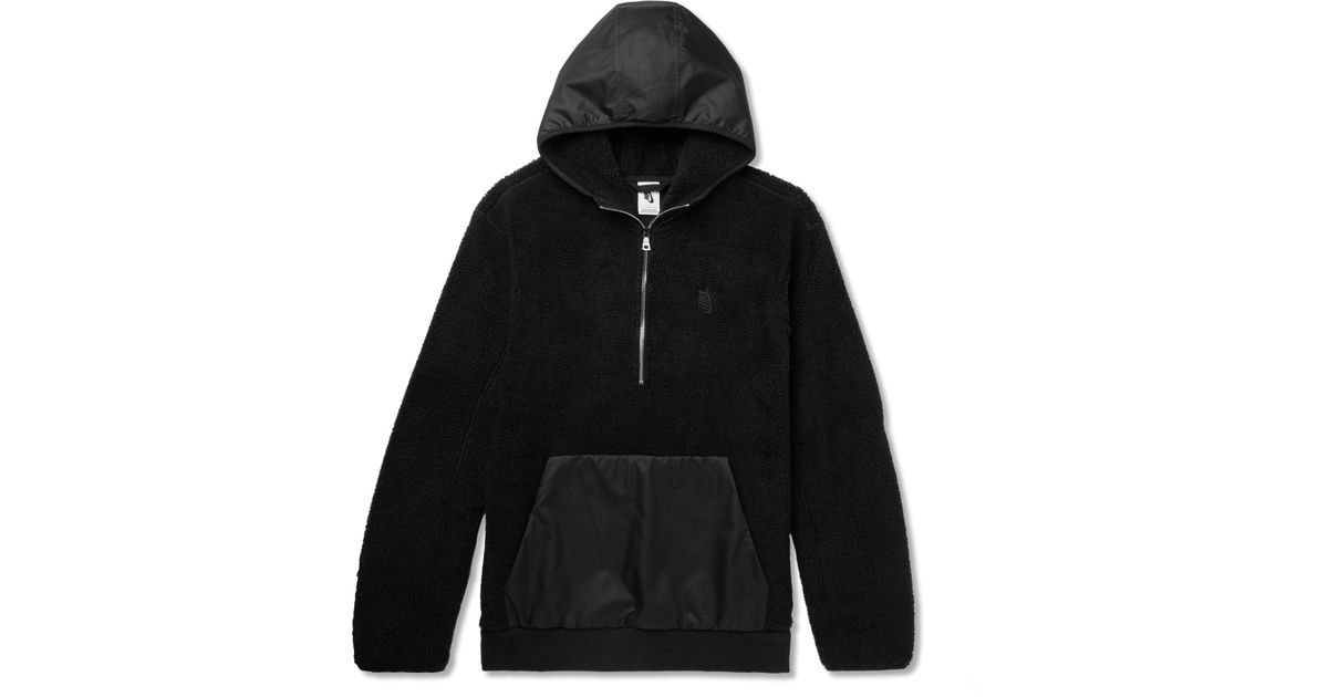 878119123 Nike Lab Essentials Shell-panelled Fleece Half-zip Hoodie in Black for Men  - Lyst