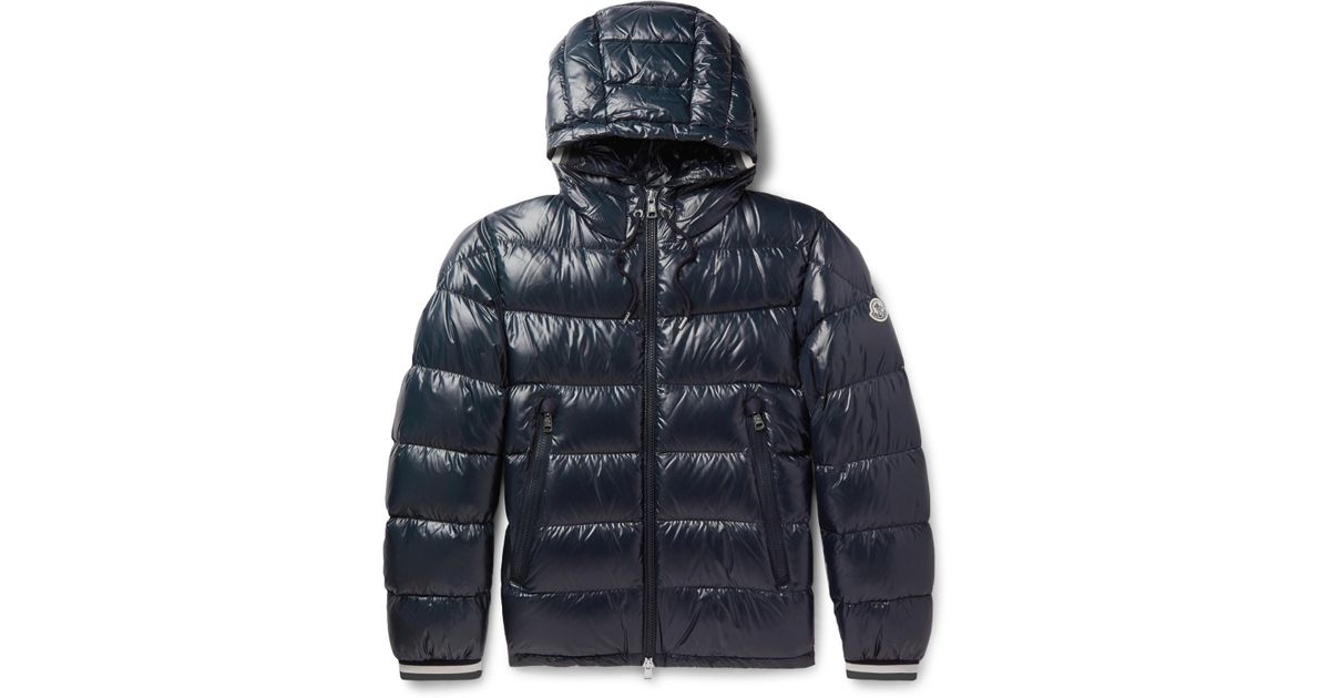 99b95233699 Moncler Alberic Grosgrain-trimmed Quilted Shell Hooded Down Jacket in Blue  for Men - Lyst