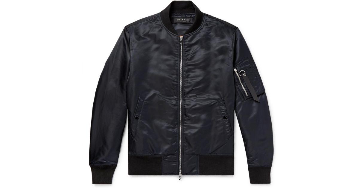 ed5b337aa Rag & Bone Black Manston Nylon Bomber Jacket for men