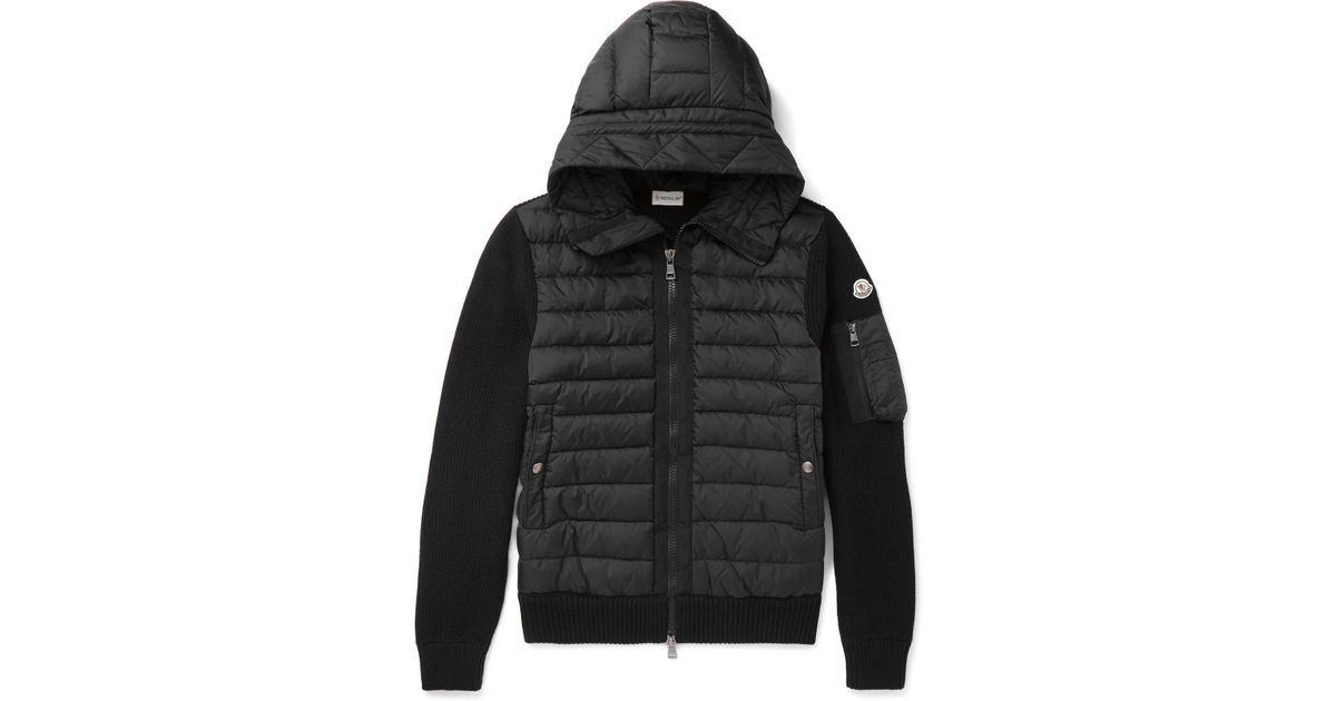 Lyst - Moncler Maglione Wool-blend And Quilted Shell Hooded Down Jacket in  Black for Men