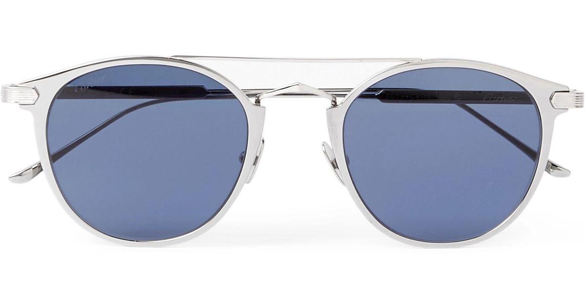 Silver Sunglasses In Cartier De C Frame Tone Round Signature XR1gqwP