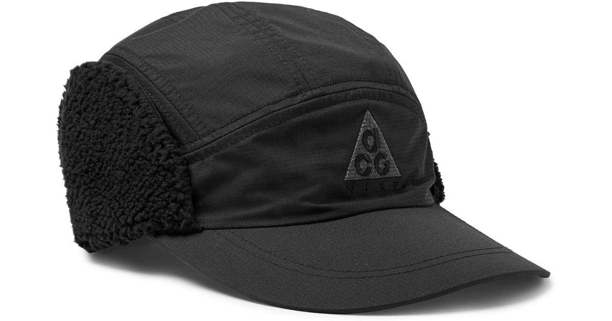 ace44e6cf3799 Nike Acg Tailwind Sherpa-trimmed Nylon-ripstop Cap in Black for Men - Lyst