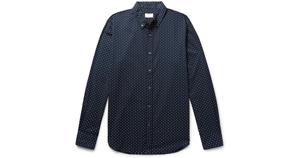 ff4cc019530 Lyst - Club Monaco Slim-fit Button-down Collar Polka-dot Cotton Shirt in  Blue for Men