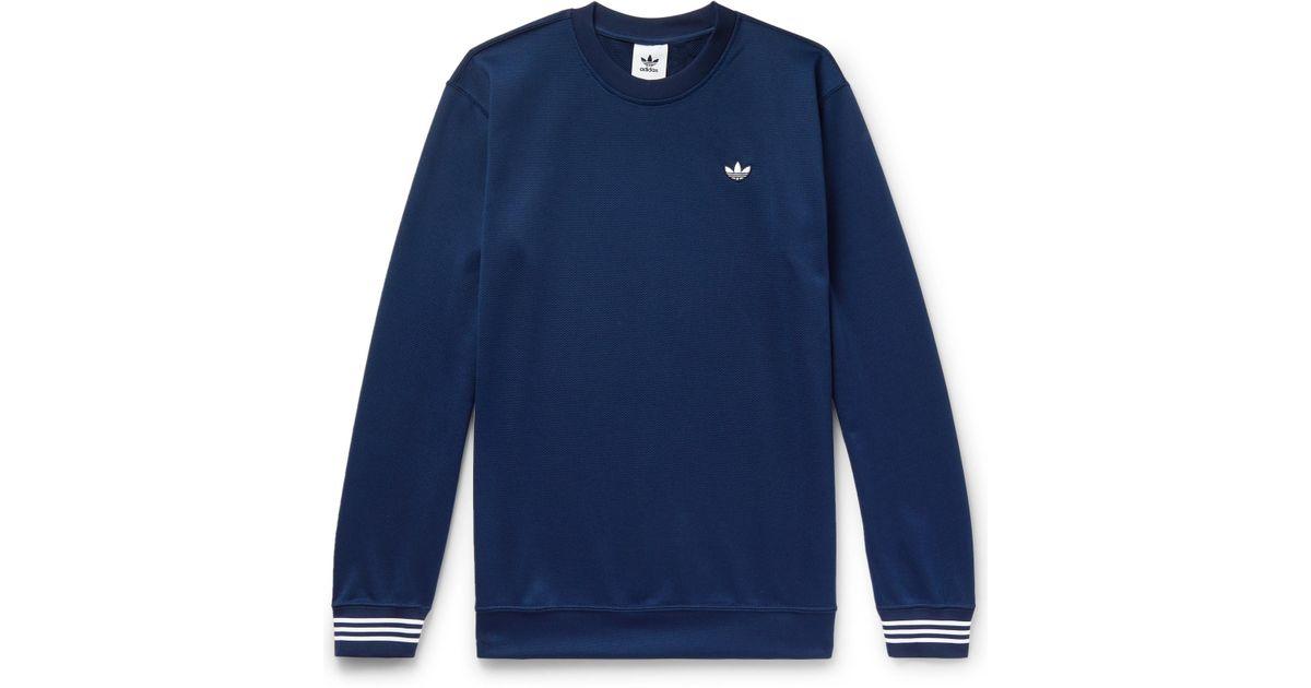 ac46e358b4f adidas Originals Striped Satin-piqué Sweatshirt in Blue for Men - Lyst