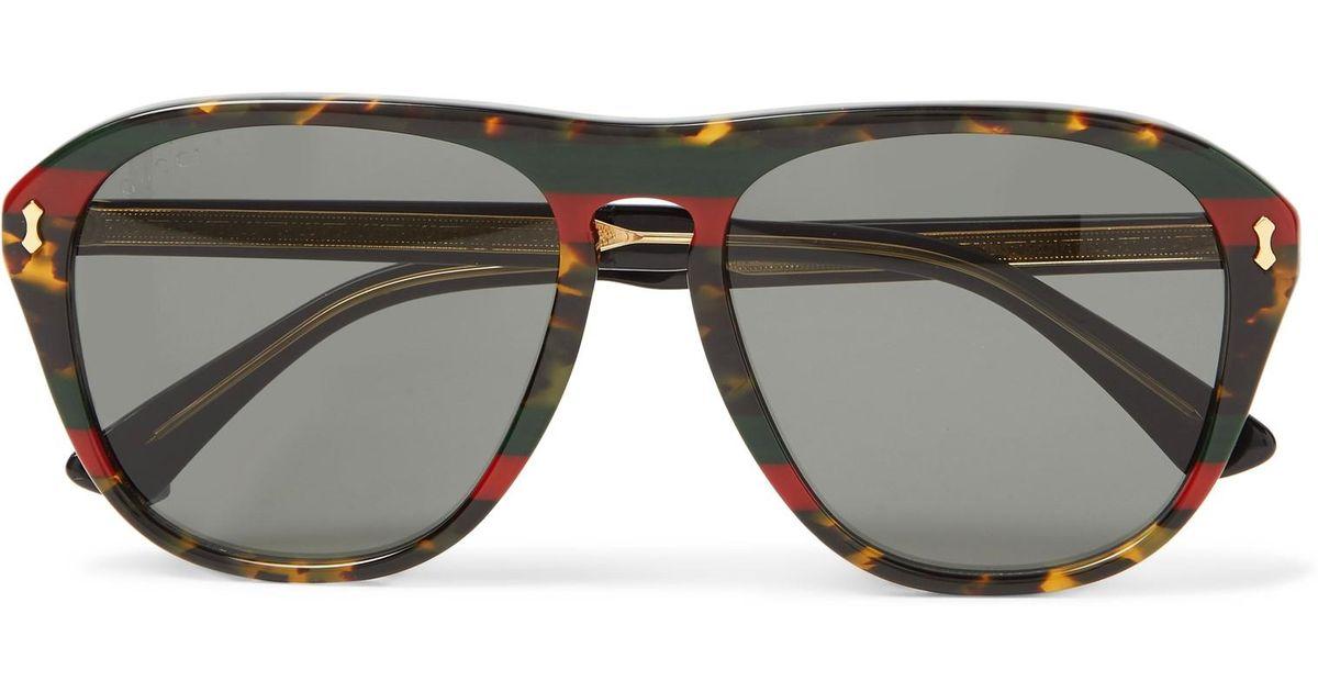 7f9e9d87f3f Lyst - Gucci Aviator-style Tortoiseshell Acetate Sunglasses in Brown for Men