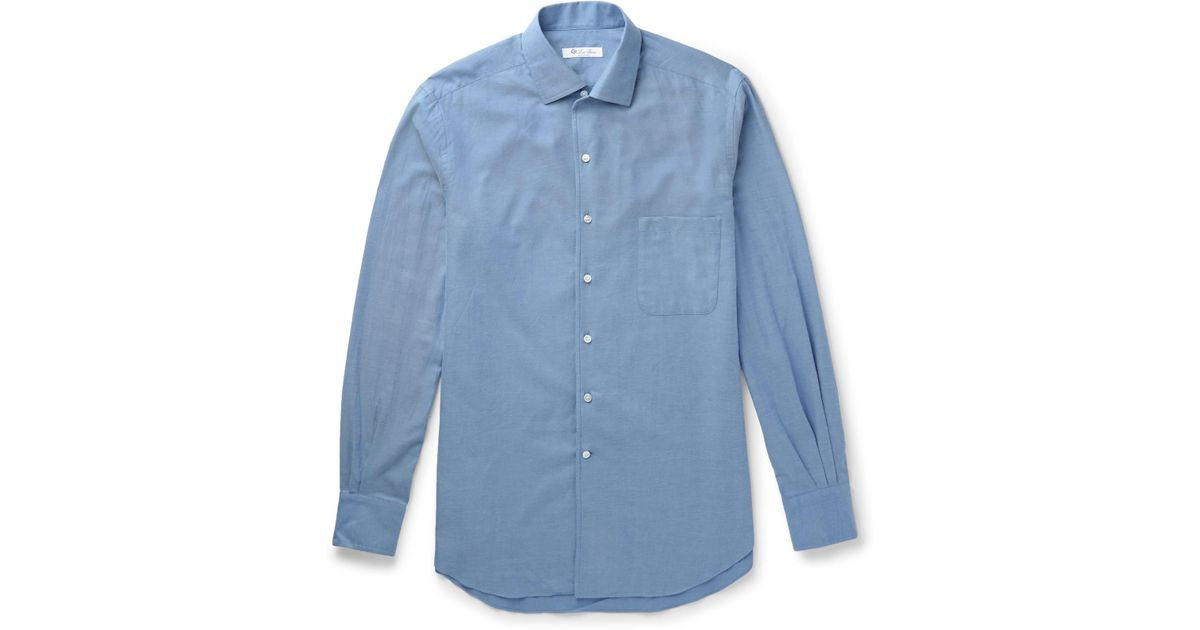 Loro Piana Cotton Flannel Shirt In Blue For Men Lyst