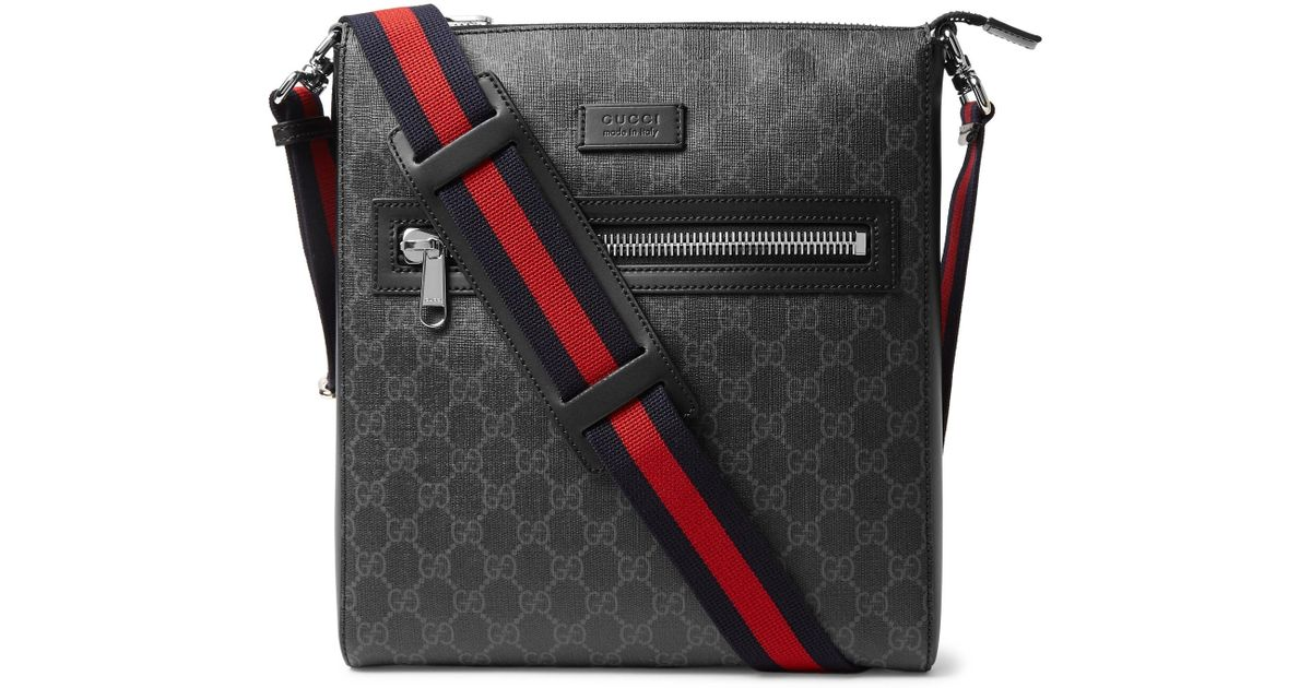588fb98a6ce2 Gucci Leather-trimmed Monogrammed Coated-canvas Messenger Bag in Black for  Men - Save 13% - Lyst