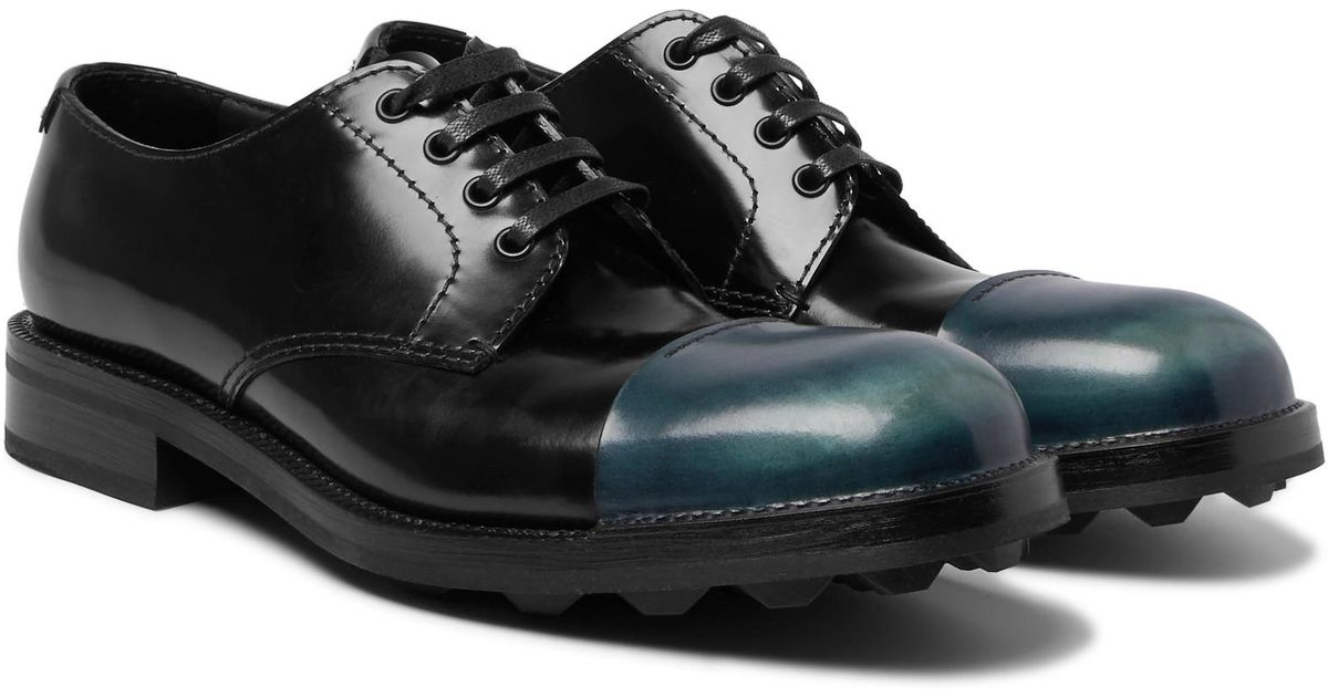 b6f3e546623 Lyst - Prada Cap-toe Spazzolato Leather Derby Shoes in Black for Men