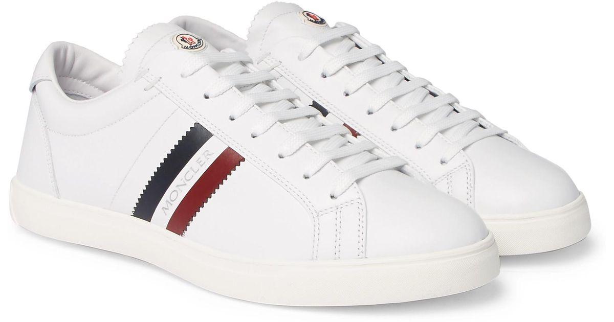 La Monaco Striped Leather Sneakers Moncler T6HUGqWm