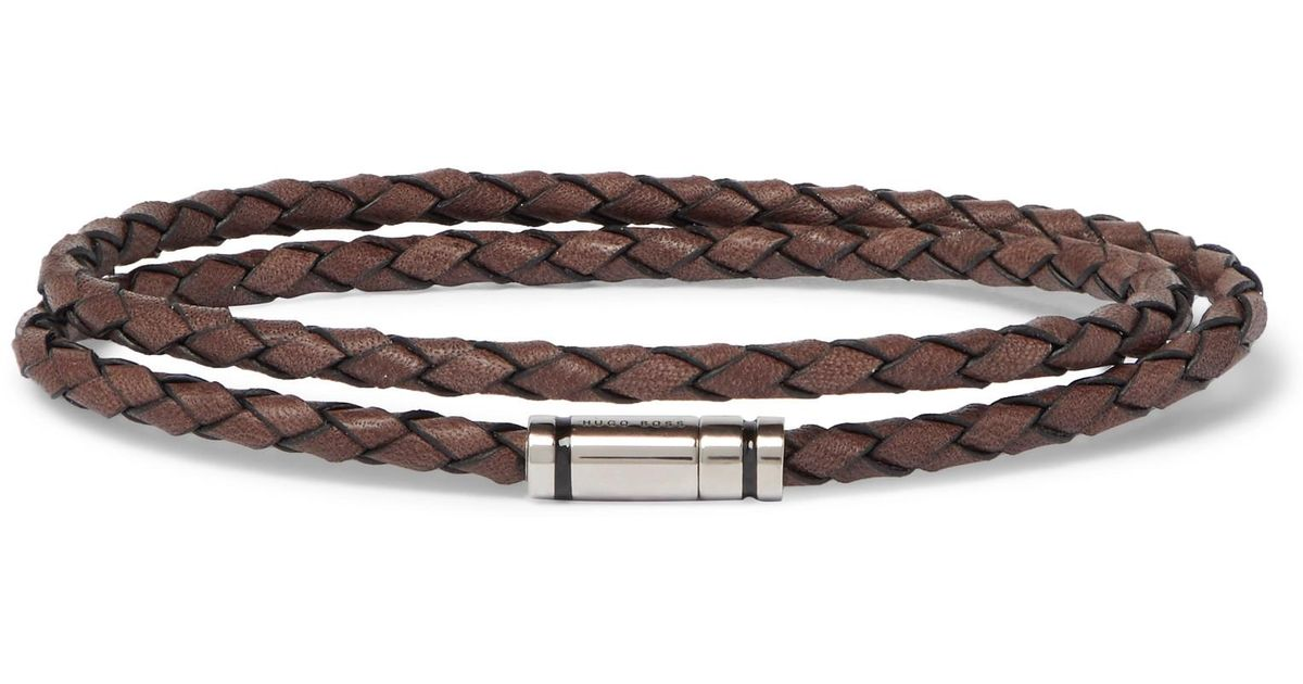 HUGO BOSS Bruno Woven Leather And Silver-tone Wrap Bracelet - Brown lYZBGRagQX