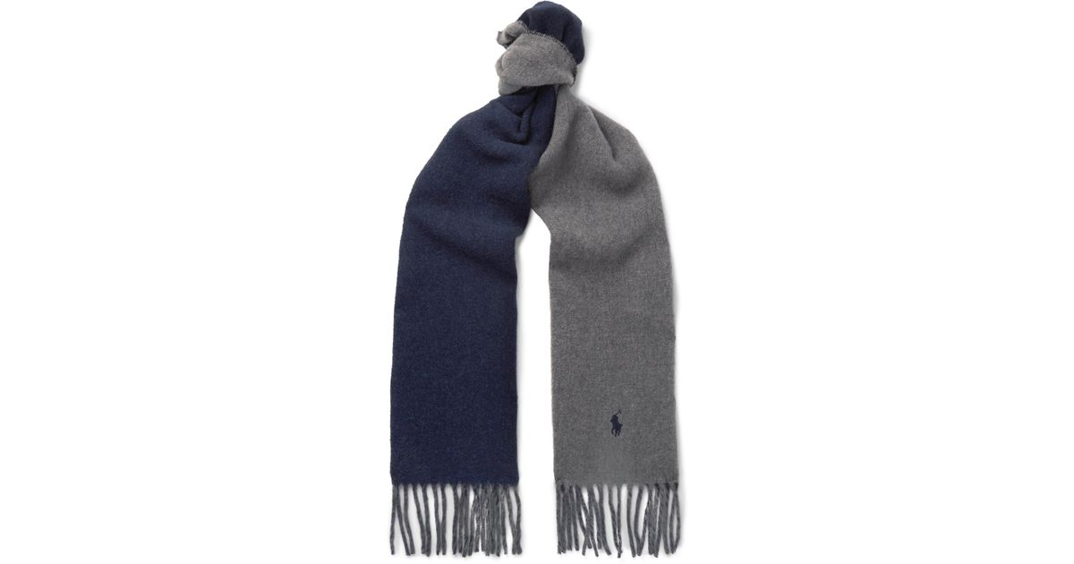 6e4b88fcfa278 ... inexpensive lyst polo ralph lauren reversible fringed virgin wool blend  scarf in gray for men 1c868