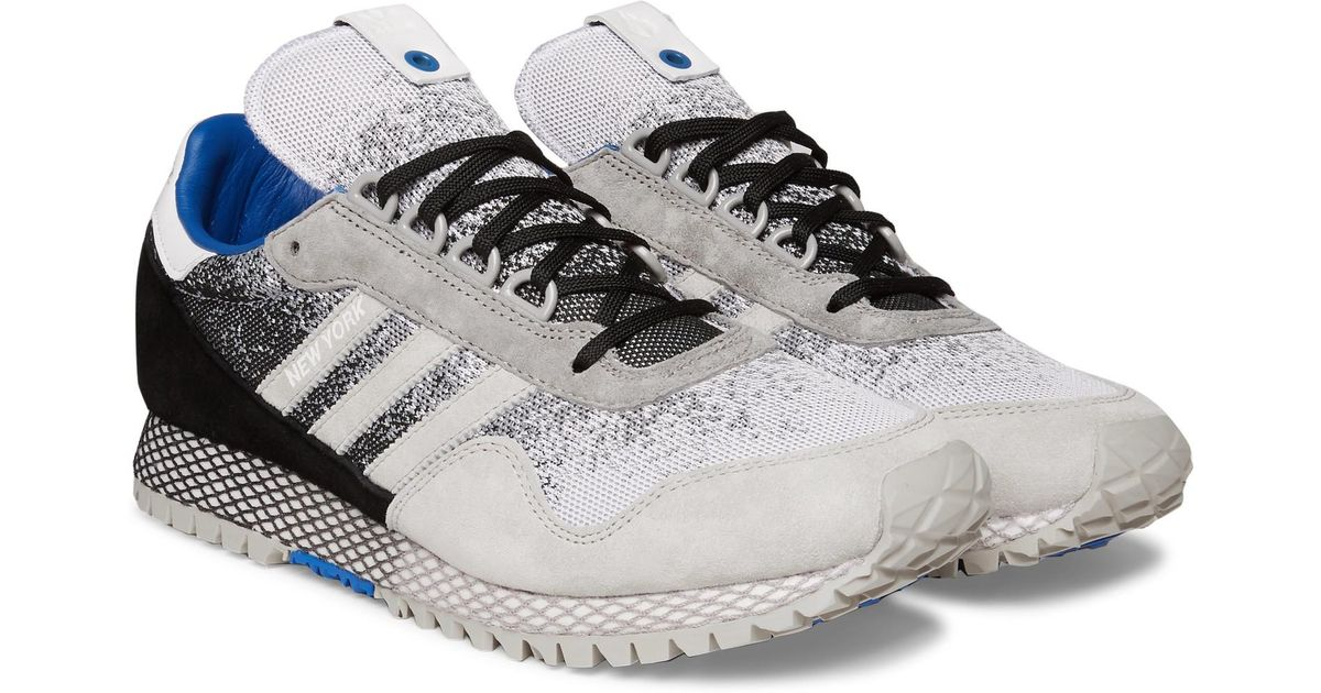 d1ad24e23d6 adidas Originals Hanon New York Dark Storm Suede-trimmed Mesh Sneakers in  Black for Men - Lyst