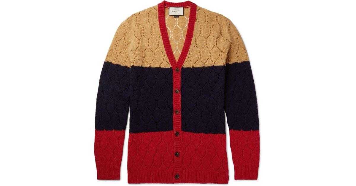 5895c1433ddad Lyst - Gucci Colour-block Honeycomb-knit Wool Cardigan in Blue for Men